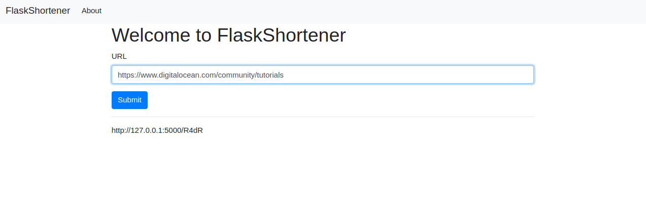 Flask Shortened URL displayed beneath the URL input box