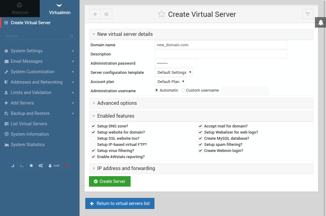 How To Install Virtualmin with Webmin, LAMP, BIND, and PostFix on