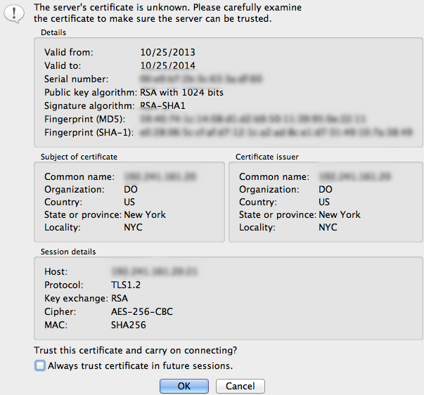 FileZilla Server Certificate