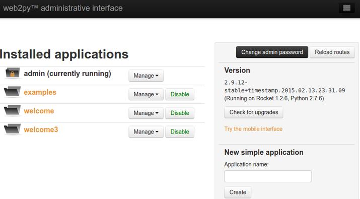 web2py admin interface