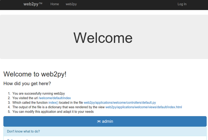 web2py welcome app