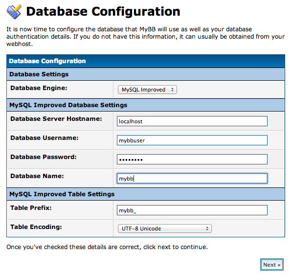 DigitalOcean MyBB database configuration