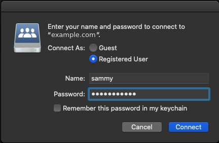 Image showing the username and password dialog