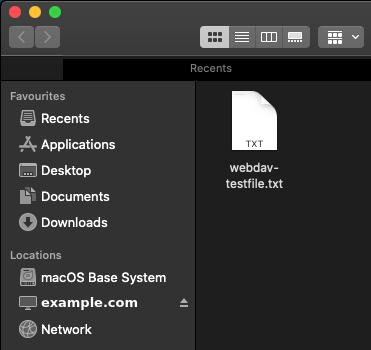 Image showing the WebDAV share in Finder