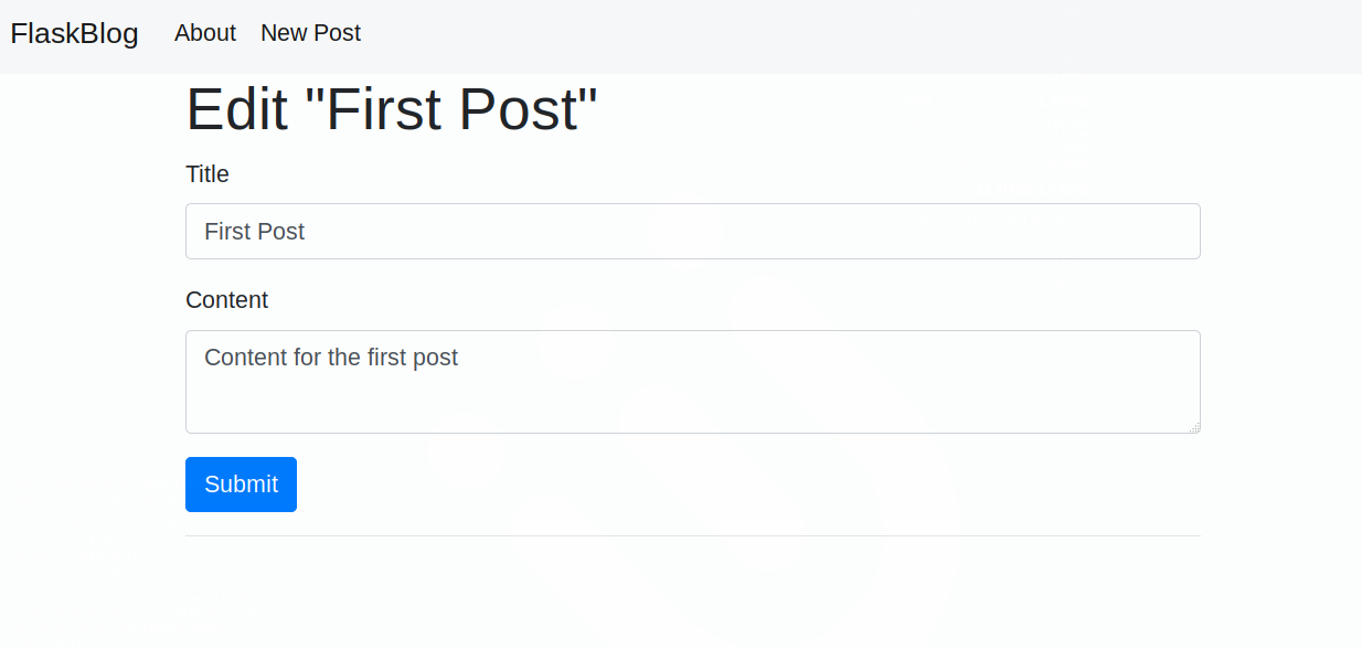 Edit a Post Page