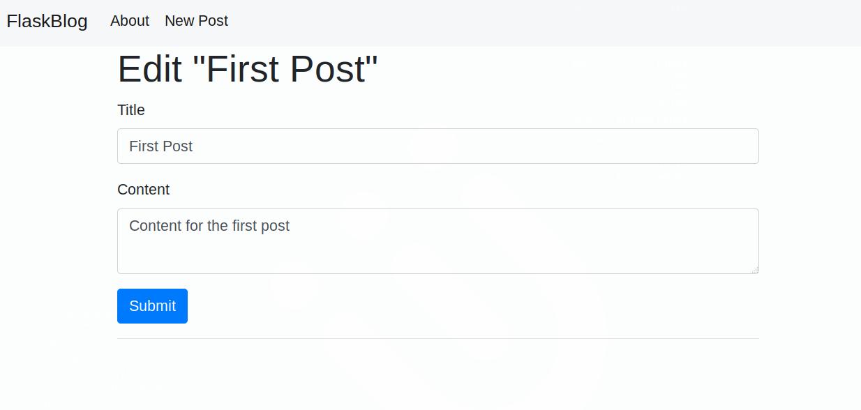 Página de edição de uma postagem