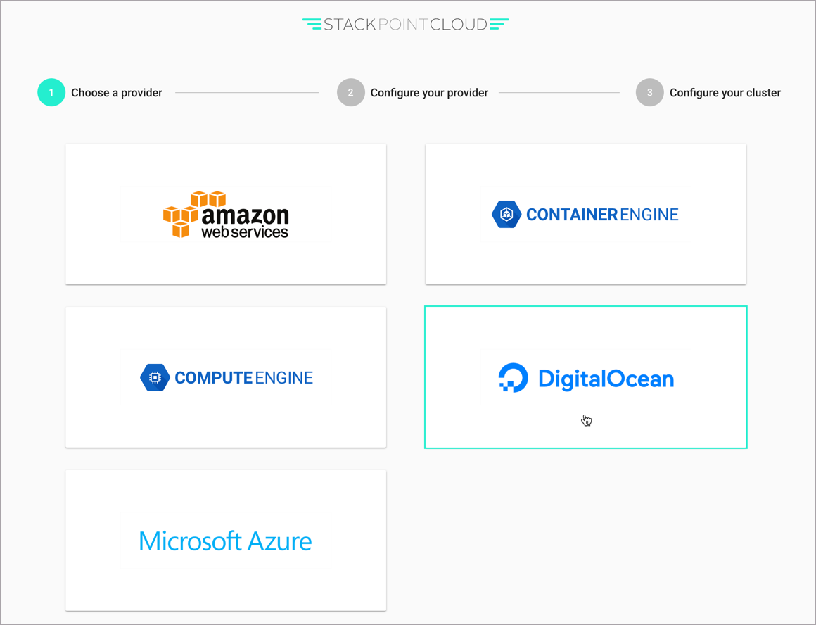 Select the DigitalOcean provider