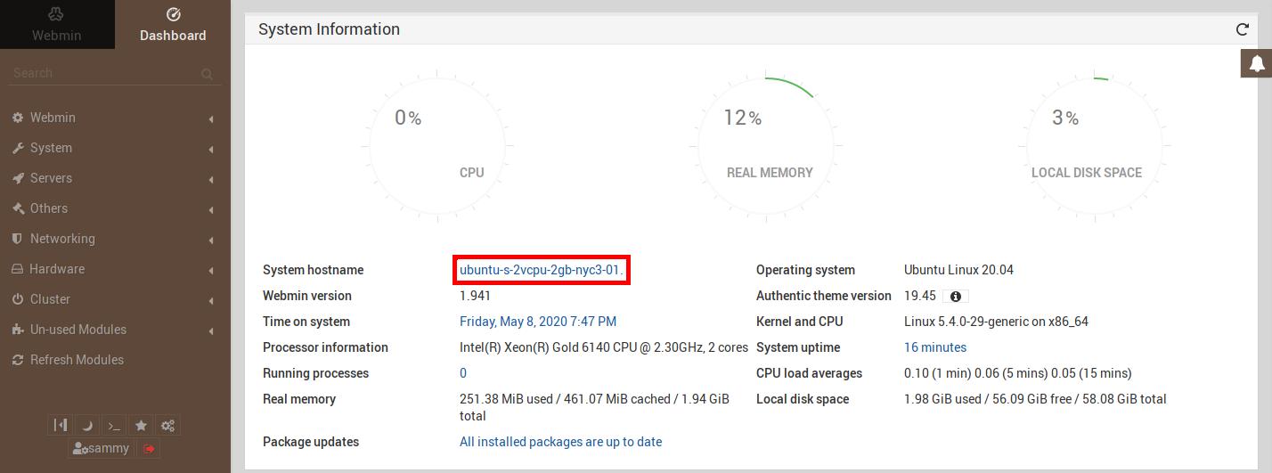 Imagem mostrando onde o link está no painel do Webmin