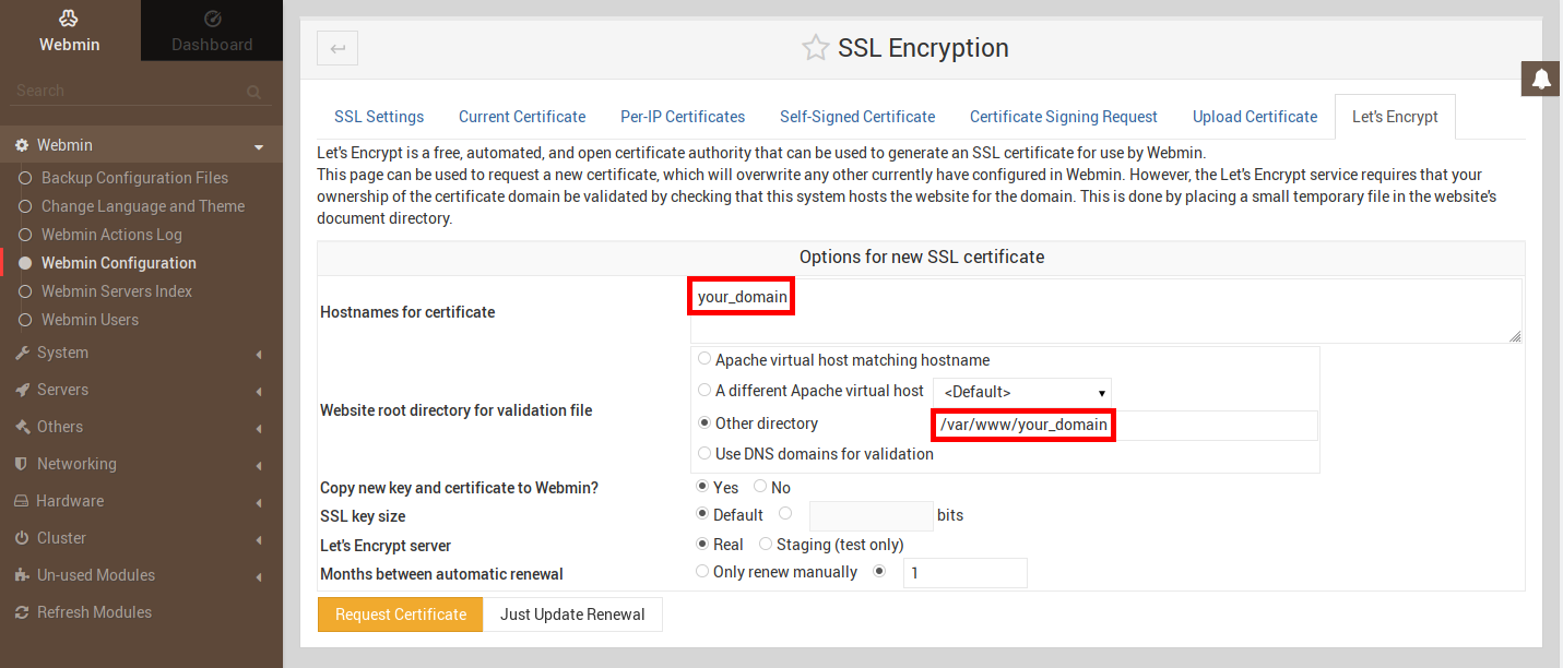 Image montrant l'onglet Let's Encrypt de la section SSL Encryption