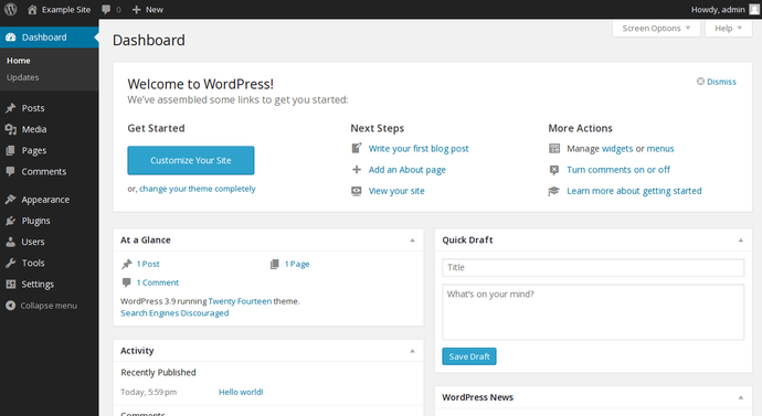 WordPress admin interface