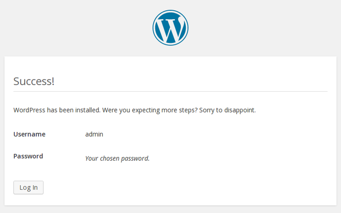 WordPress confirmar instalar
