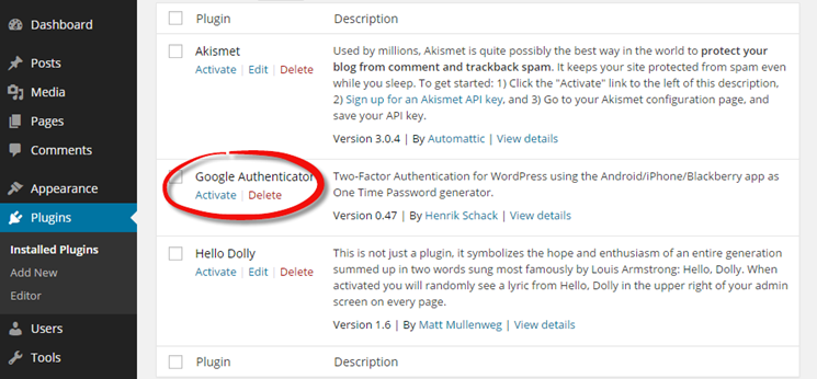 Install and activate the Google Authenticator Plugin for WordPress