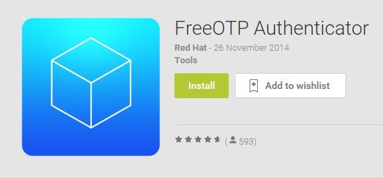 FreeOTP app in the Google Play Store