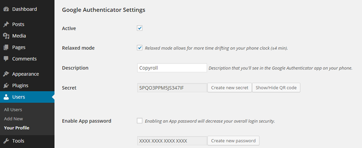 Google Authenticator plugin configuration