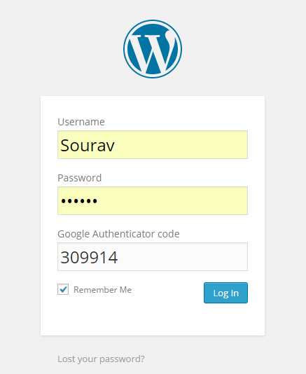 2fa enabled WordPress login form