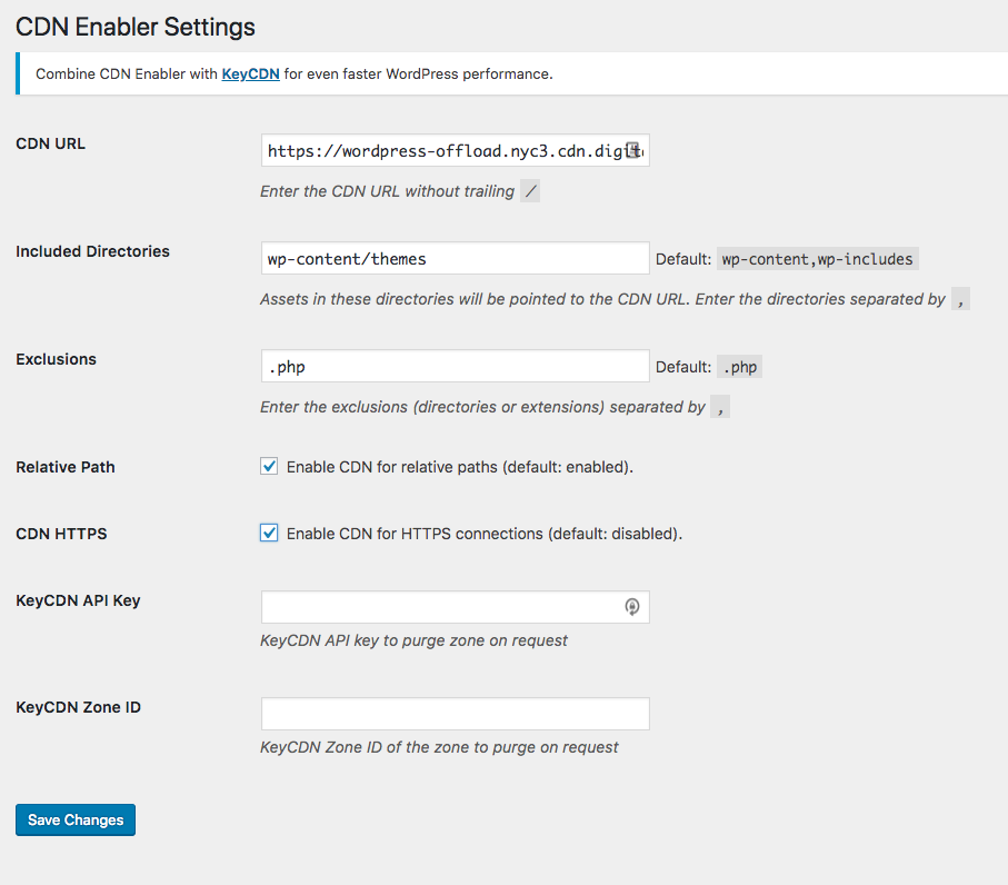 CDN Enabler Final Settings
