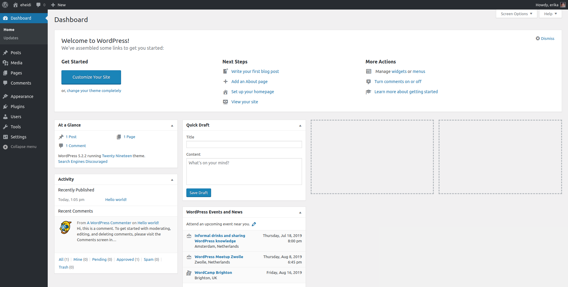 WordPress admin panel