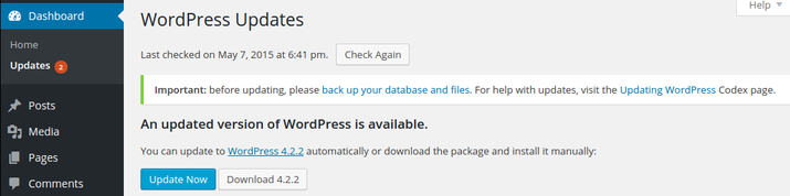 WordPress update now