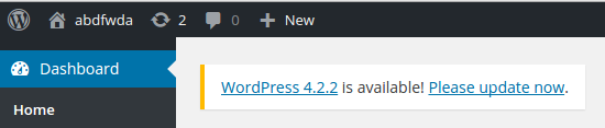 WordPress update warning