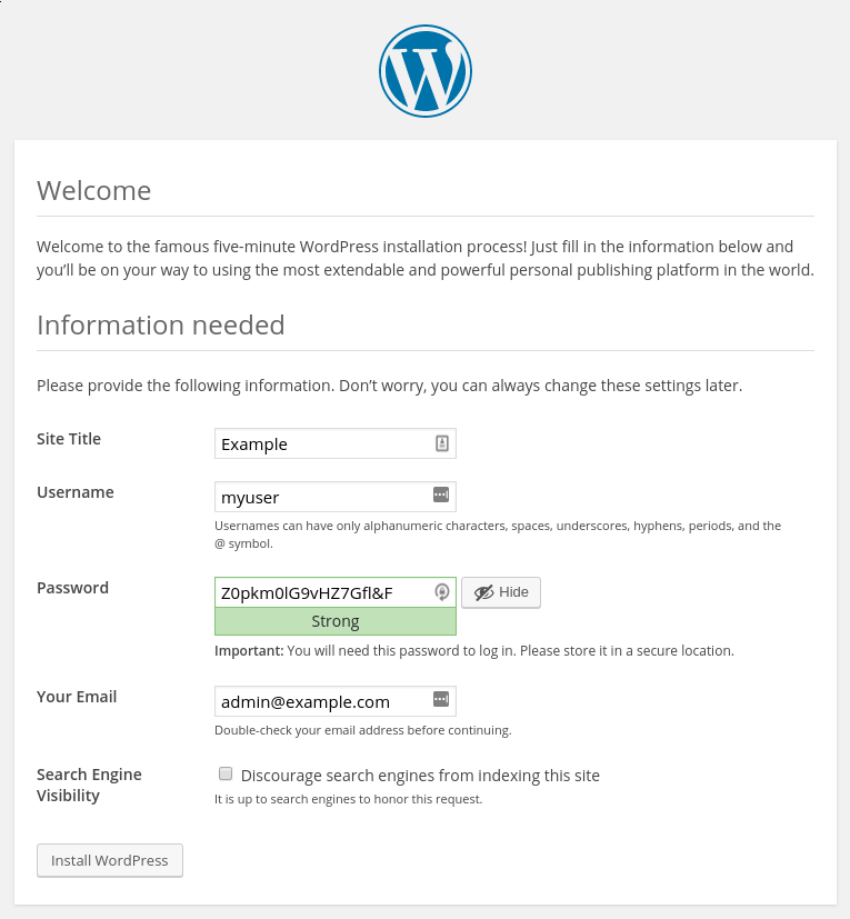 WordPress setup installation​​​
