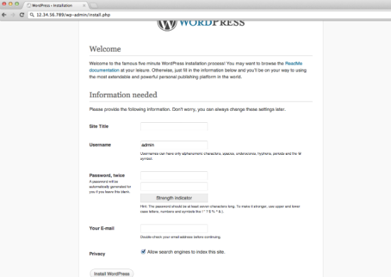 WordPress Initial Login
