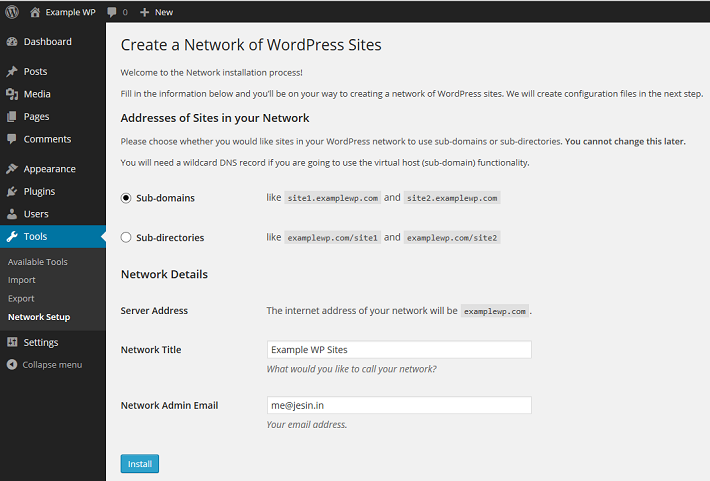 how to set up subdomain in wordpress