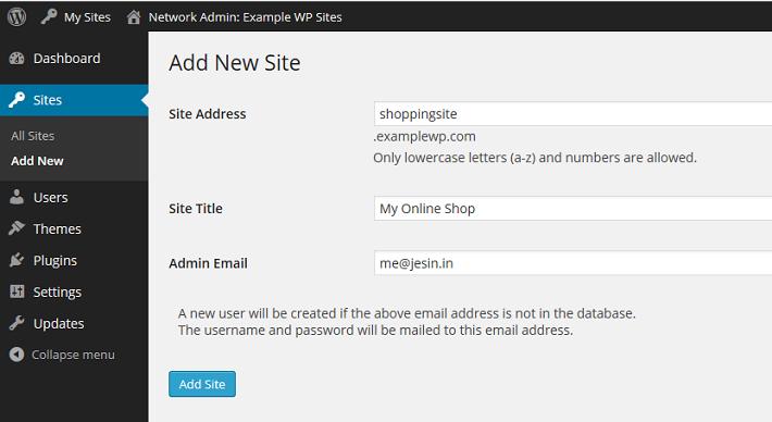 Creating a new WordPress site