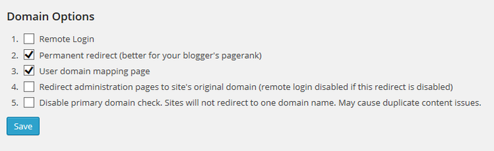 Domain mapping options