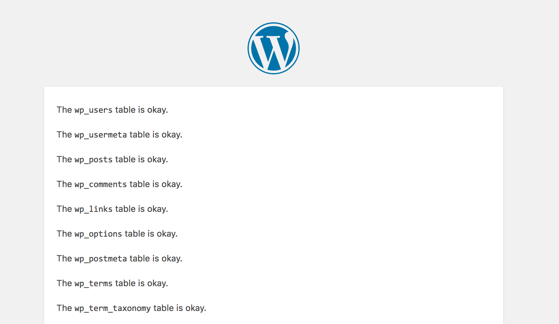 WordPress database repair results page