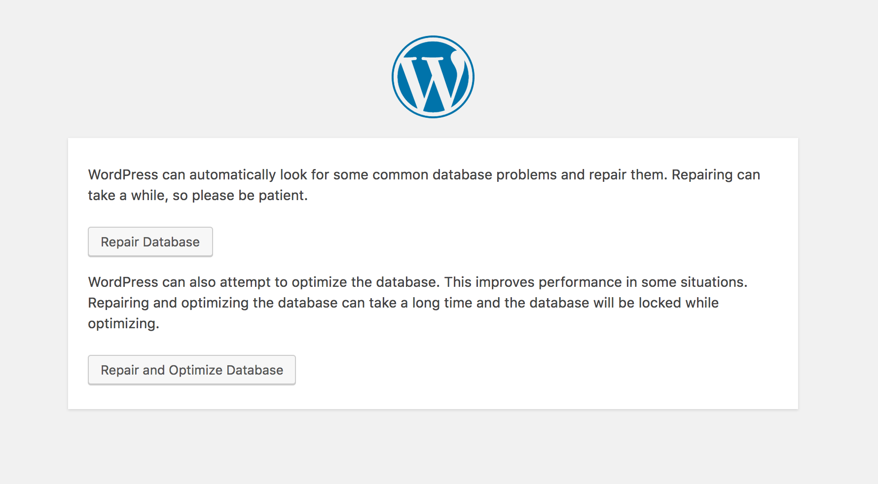 WordPress database repair page