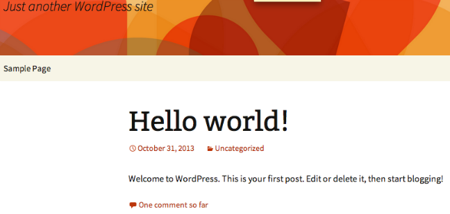 WordPress default page