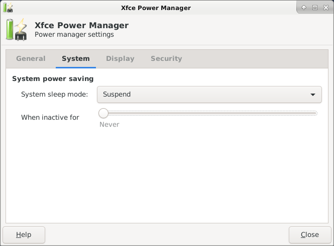 Disabling Automatic System Suspend in XFCE Power Manager