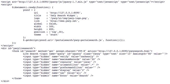 YaCy autogenerate html