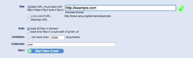 YaCy crawl own domain