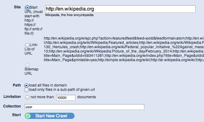 YaCy wikipedia crawl