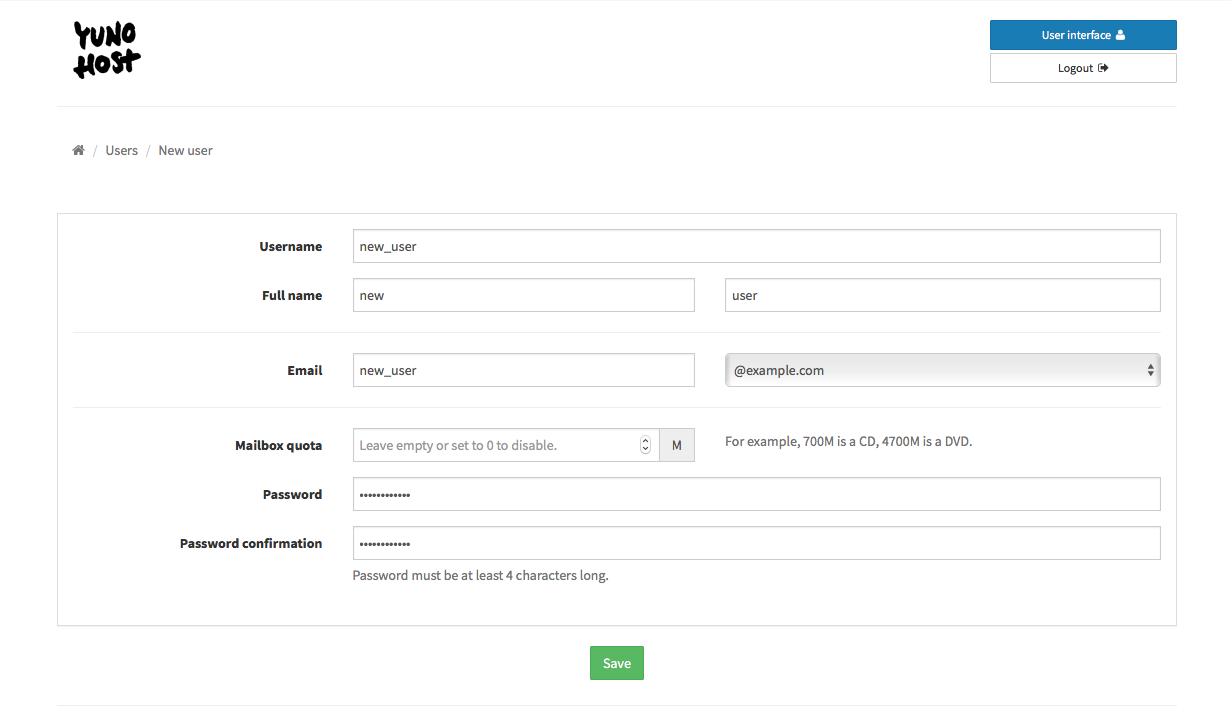 New User page with fields for username, email, etc.
