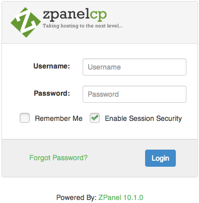 ZPanel Authentication Page