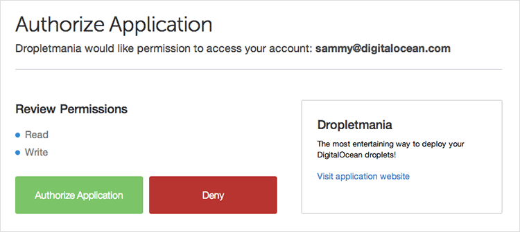 Authorize Application page