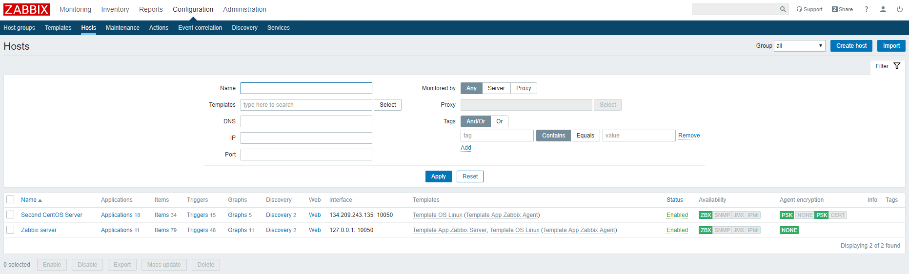 Zabbix shows your new host