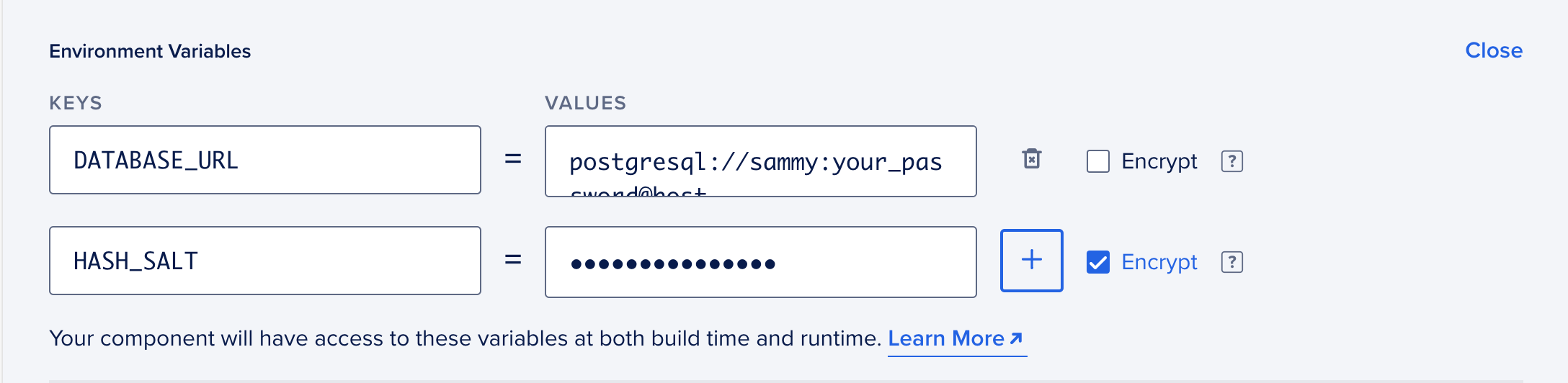 Setting environment variables while deploying Umami to App Platform