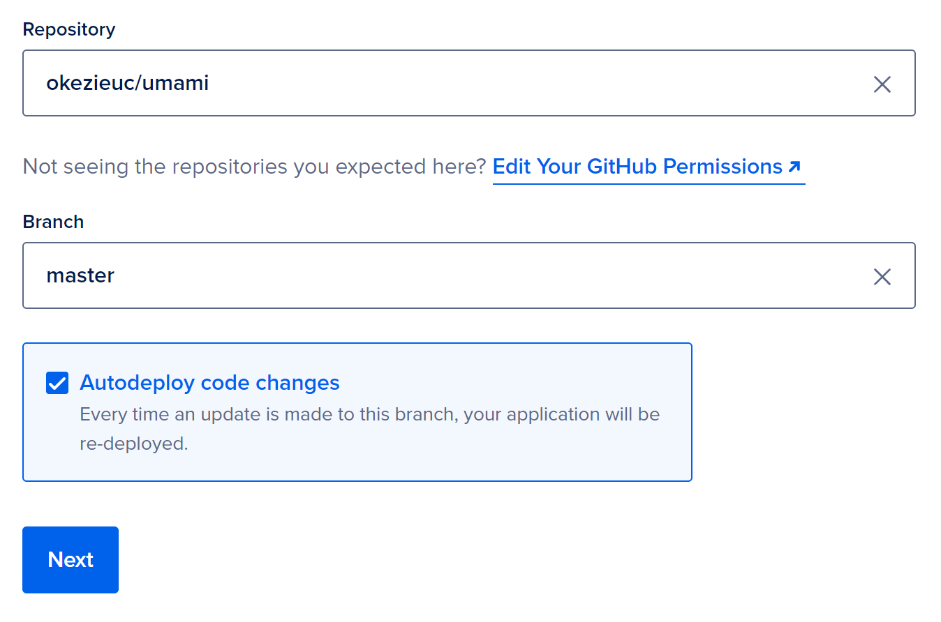 Selecting a GitHub repository to deploy to App Platform from