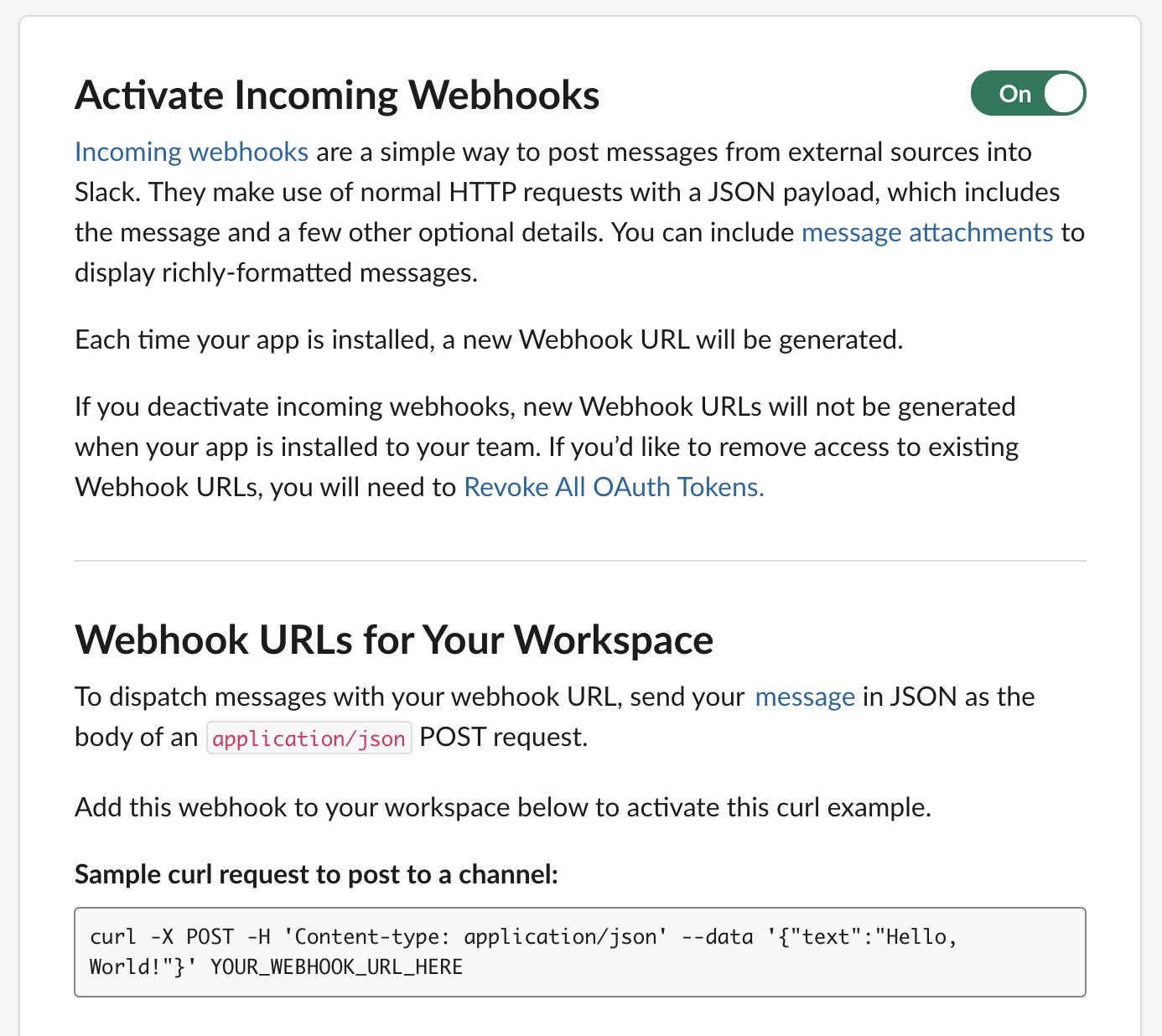 Slack app - Activate Incoming Webhooks