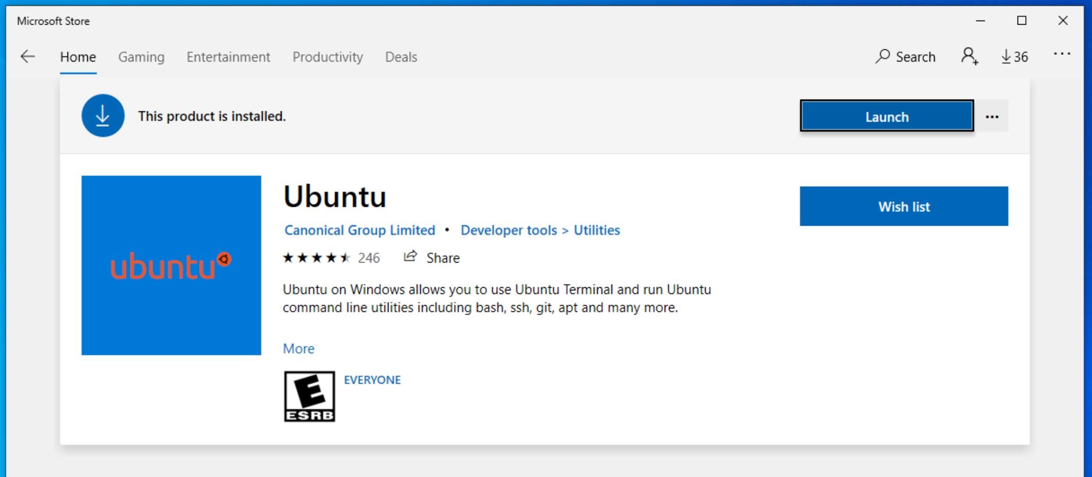 Select Ubuntu and Install