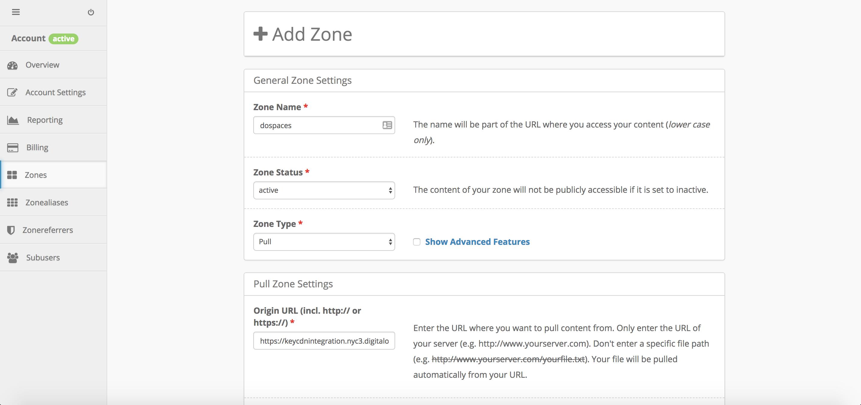 Create a KeyCDN pull zone