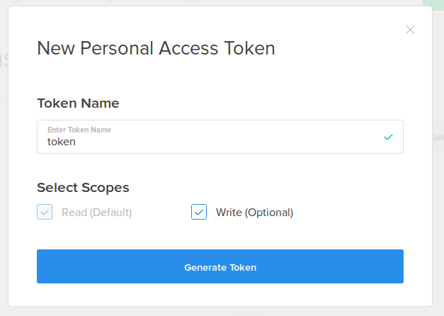 New Personal Access Token screen