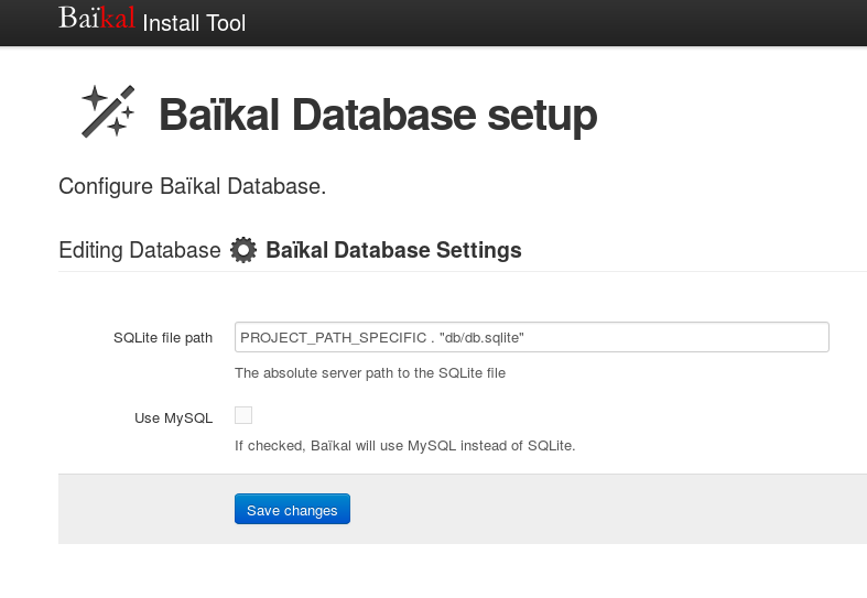 Baïkal Database setup