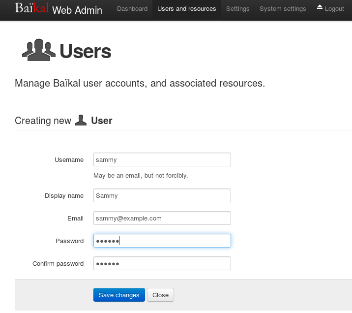 Users form; fill out the fields as desired