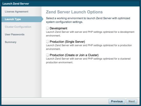 Zend Server launch types