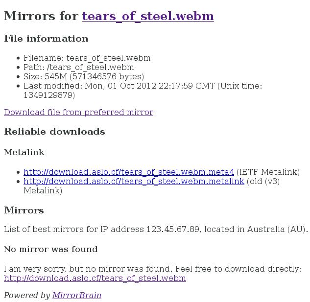 MirrorBrain Mirror List Example