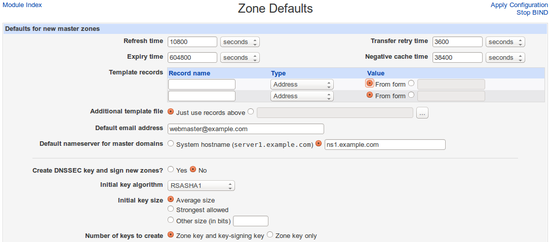 Zone Defaults
